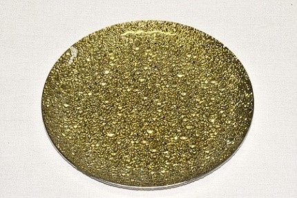 Skleněný tác 25 cm, zlatý mražený