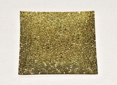Skleněný tác 19,5 x 19,5 cm, zlatý mražený