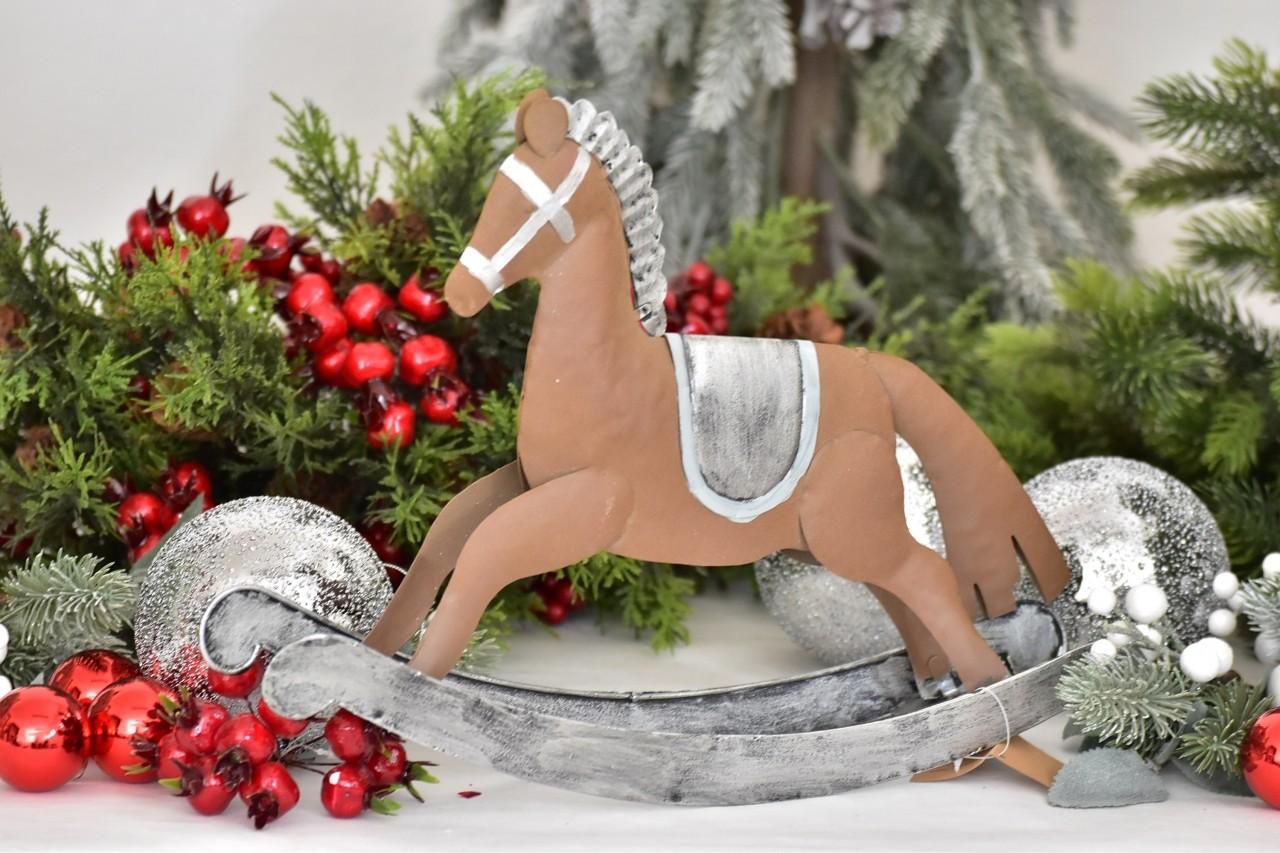 Kovový houpací kůň 26,5 cm