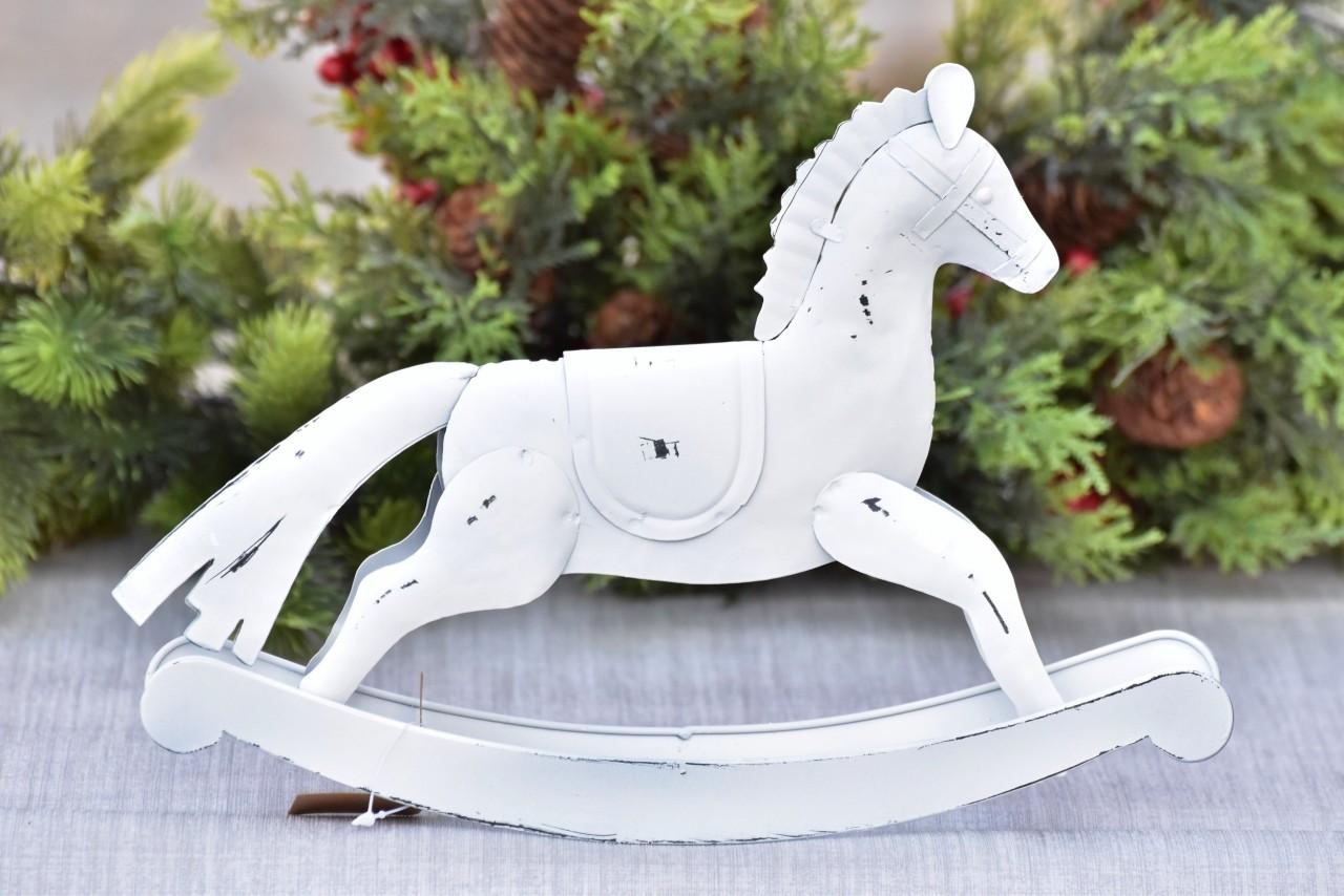 Kovový houpací kůň bílý 20,5 cm