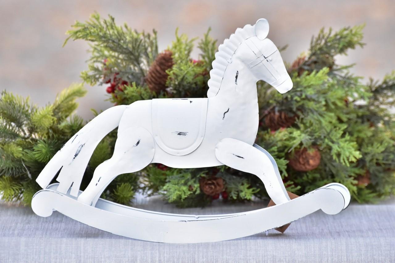 Kovový houpací kůň bílý 26,5 cm