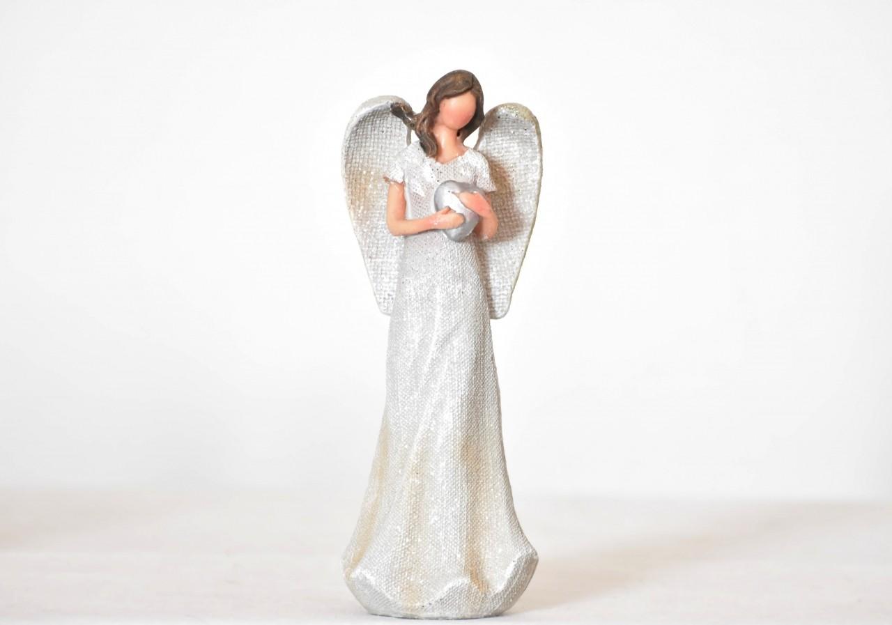 Anděl juta se srdíčkem 20 cm (89395)