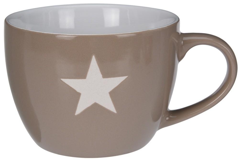 Keramický hrnek Jumbo hvězda hnědý