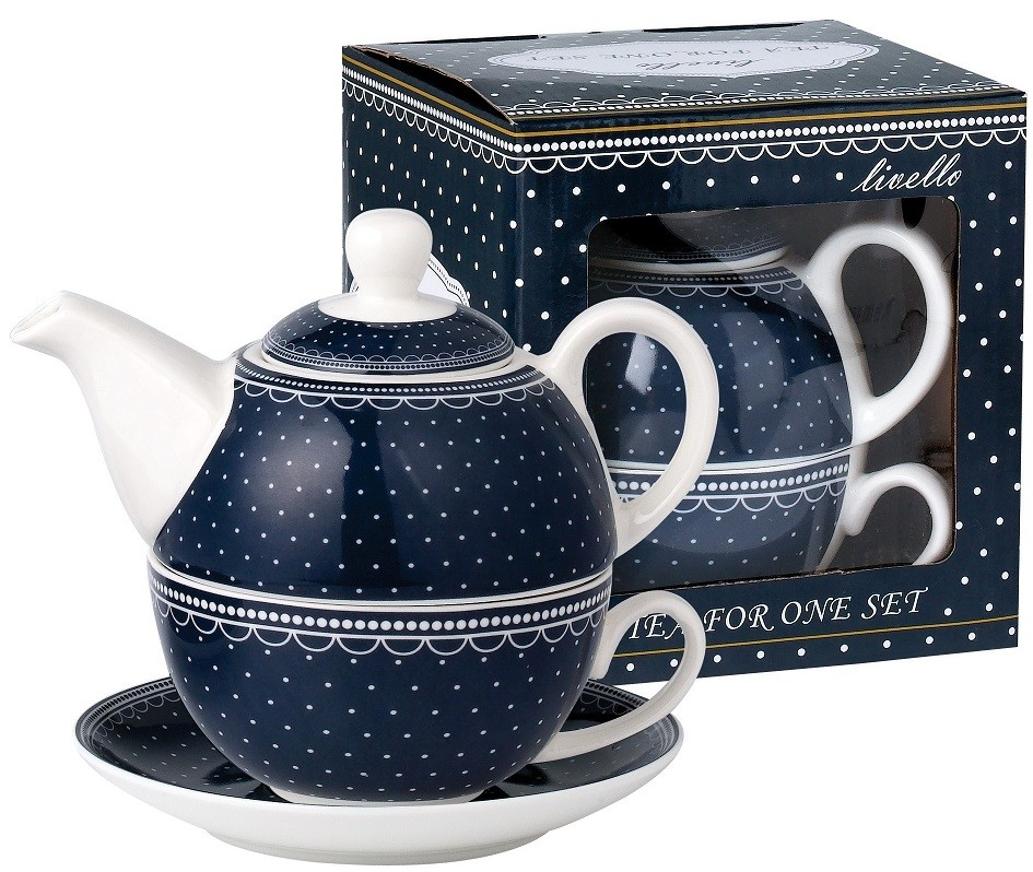 Konvička s podšálkem TEA FOR ONE Dots - blue