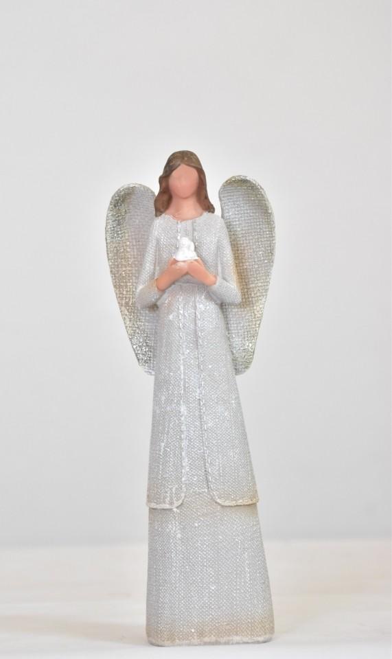 Anděl juta s holubicí 25,5 cm (89393)